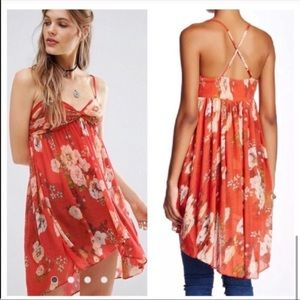 Free People Synthetic Mirage Floral Top Tunic Red/Orange Size Large NTW